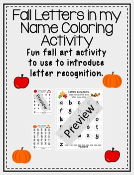 1st Grade Letters in my Name Leaves, Pumpkins, and Apples