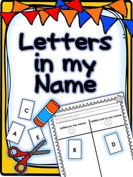 Letters in my name- Freebie! Kindergarten Back to School- No Prep