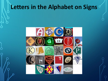"""Letters in the Alphabet on Signs """"search and find book"""""""