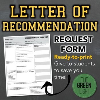 Letters of Recommendation Request Form -- Recommendation Letters
