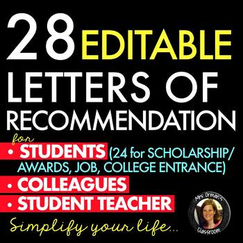 Letters Of Recommendation For College Scholarships Awards Teaching