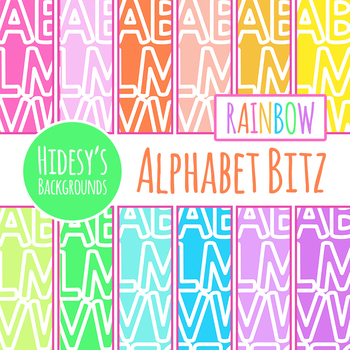 Letters of the Alphabet Digital Paper / Backgrounds in Rainbow Colors Clip Art