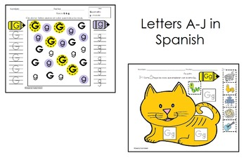 Alphabet Letters for PreK Initial Sounds A-J Spanish only activities cscope CC