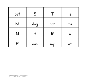 Letters or Words T-Chart Sort