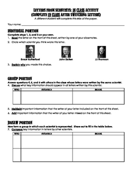 Letters to Aristotle Atomic Theory Activity