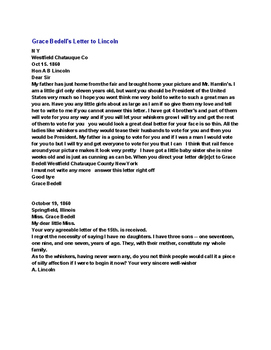 Letters to Lincoln Review Questions and Worksheet