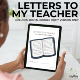 Letters to My Teacher DIGITAL | Character Ed Journal | Dis