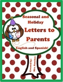 Letters to Parents in English and Spanish Seasonal and Holiday