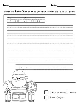Letters to Santa! Persuasive Writing Paper