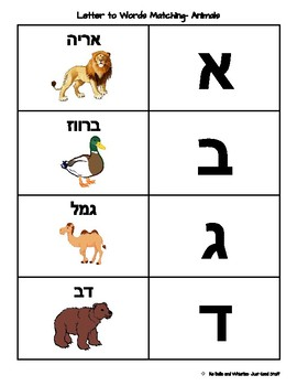 Letters to Word Matching- Hebrew: Animal Theme