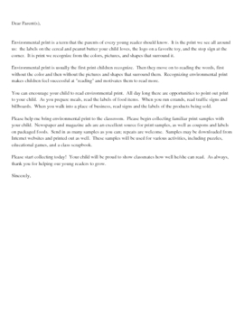 Letters to send home to parents explaining various literacy elements