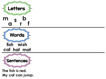 Letters words and sentences sort