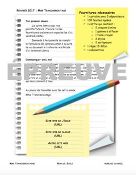 Lettre bienvenue pour parents modifiable / Customizable Letter to Parents