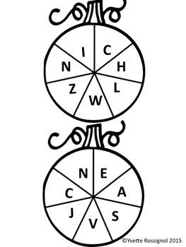 Lettres citrouilles (L'Halloween, L'Alphabet, L'identification des lettres,)