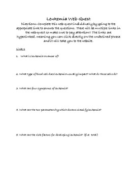 Leukemia web-quest with ANSWER KEY!