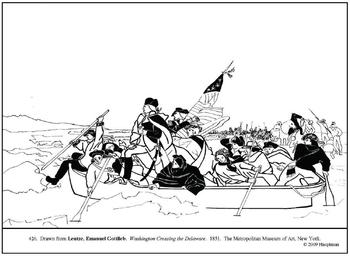 Leutze. Washington Crossing Delaware. Coloring page & lesson ideas