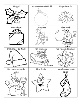 Level 1&2 Christmas French Vocabulary Printing Page