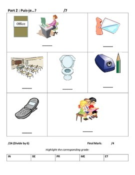 Level 1&2 Classroom Objects & Puis je sayings Assessment