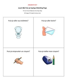 Level 1&2 Puis-je Sayings Matching Worksheet
