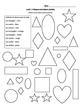 Level 1-4 Colours and Shapes Review Activity