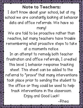 Level 1 Behavior Response Checklists
