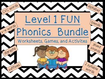 Level 1 FUN phonics bundle: activities, games, worksheets