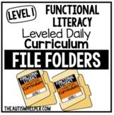 Level 1 Functional Literacy Leveled Daily Curriculum FILE FOLDER ACTIVITIES