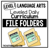 Level 1 Language Arts Leveled Daily Curriculum FILE FOLDER ACTIVITIES