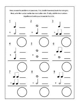 Beginning Music Math Worksheet