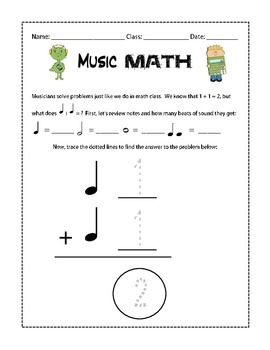 Beginning Music Math Worksheet