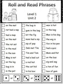 Level 1 Roll and Read Phrases BUNDLE units 2-14