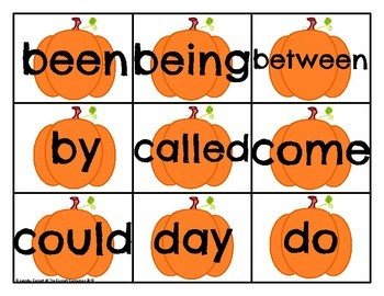 Level 1 Sight Word Cards Pumpkin Theme