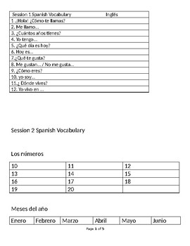 Level 1 Spanish Vocabulary