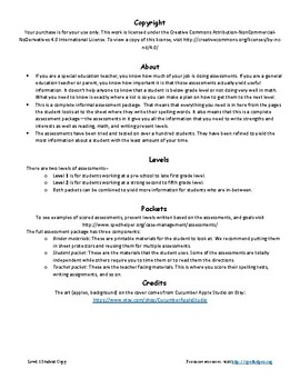 Special Education Assessment Packet Level 1 Student