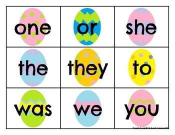 Level 1 Trick Word Cards Easter