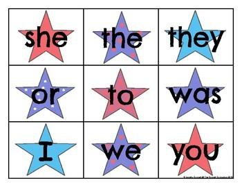 Level 1 Trick Word Cards Patriotic Theme