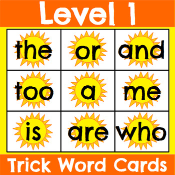 Level 1 Trick Word Cards Summer
