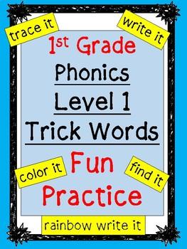 Level 1 Trick Words Fun Practice BUNDLE