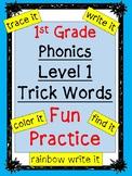 Level 1 Trick Words Practice BUNDLE