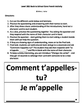 Level 1 and 2 Back to School Activity: Comment t'appelles-tu