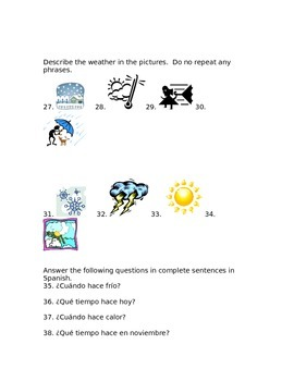 Level 1 quiz on weather and calendar