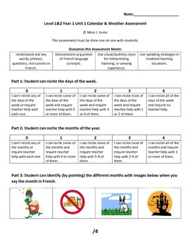 Level 1&2 Calendar and Weather Unit Assessment