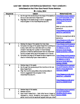 Level 1&2 Year 1 Unit 1 Calendar and Weather Unit Outline