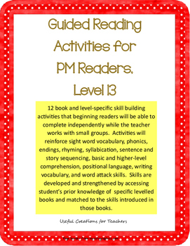 Level 13 Guided Reading Activities for PM Readers