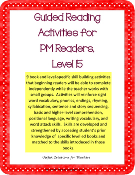 Level 15 Guided Reading Activities for PM Readers