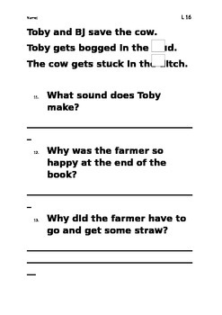 Level 16 text: BJ and Toby worksheet
