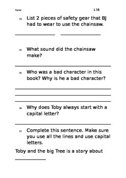 Level 16 text: Toby and the Big Tree worksheet