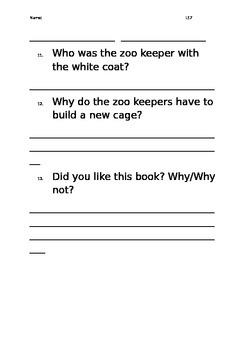 Level 17 text: Monkey Tricks worksheet