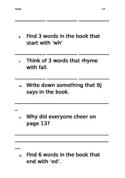 Level 17 text: Toby and the Accident worksheet