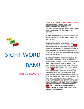 Level 1_Clouds: SIGHT WORD BAM! Game